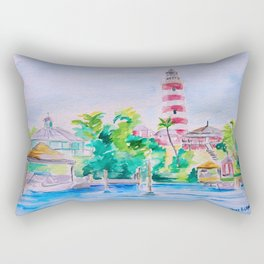 Elbow Reef Lighthouse Hope Town, Abaco, Bahamas Watercolor painting Rectangular Pillow