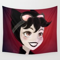 catwoman Wall Tapestries featuring Catwoman by Théa Yau