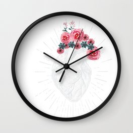 Womens Anatomical Heart graphic Human heart with flowers Wall Clock