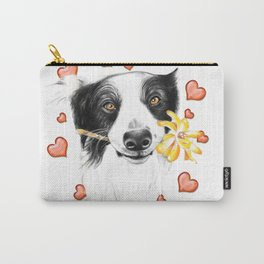 Border Collie And Hearts Carry-All Pouch