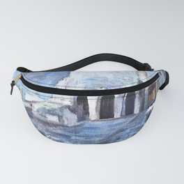 Sorrento, Italy - Blue & White - Oil on Canvas Fanny Pack