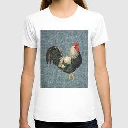 Cockerel on blue T-shirt