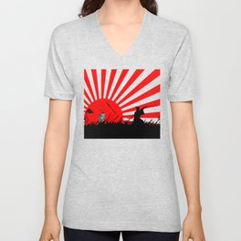 Samurai Sword Fight Victory Unisex V-Neck