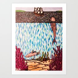 Under the Sea Shark & Whale Art Print