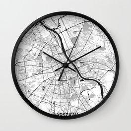Warsaw Map Gray Wall Clock