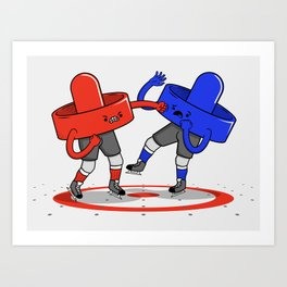 Air Hockey Brawl Art Print