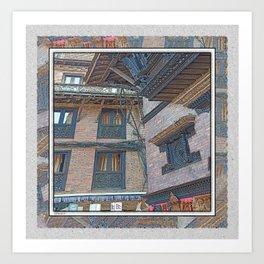BHAKTAPUR NEPAL BRICKS WINDOWS WIRES Art Print