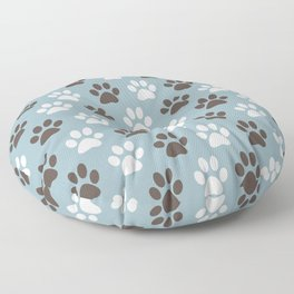 Animal Paw Print Pattern Blue Floor Pillow