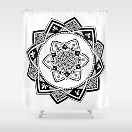Sirasana black mandala on white Shower Curtain