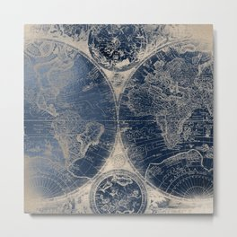 Antique World Map Gold Navy Blue Library Metal Print