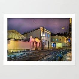 Old stone's street empty of people with tram railways at night, foggy sky. Art Print