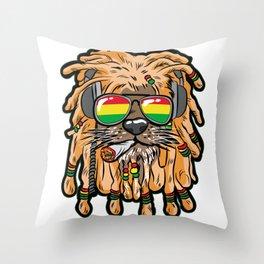 RASTA LION Joint Smoking Weed 420 Ganja Pot Hash Throw Pillow