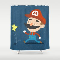 mario Shower Curtains featuring Mario by Rod Perich