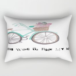 I just want to Ride My Bike Vintage Watercolor Rectangular Pillow