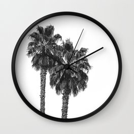 Dos Palmeras // Tropical Black and White Palm Tree Photography California Nature Ocean Vibes Wall Clock
