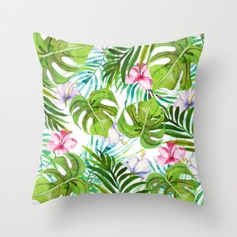 Modern tropical pink lilac green watercolor floral Throw Pillow