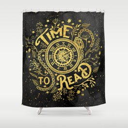 Time to Read - Gold Shower Curtain