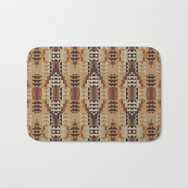Orange Khaki Dark Caramel Coffee Brown Rustic Native American Indian Mosaic Pattern Bath Mat