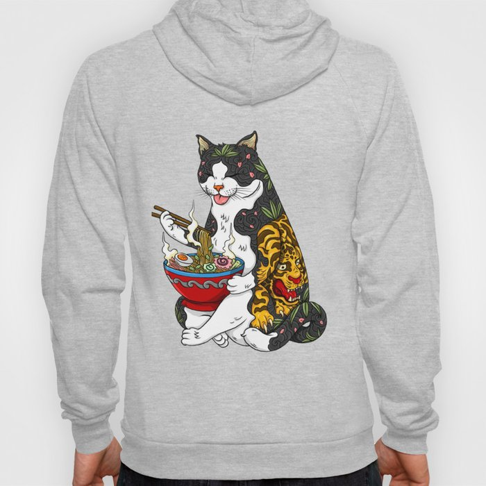 Cat eating Chinese Noodles with Tiger Tattoo Hoody