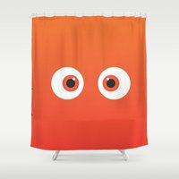 finding nemo Shower Curtains featuring PIXAR CHARACTER POSTER - Nemo 2 - Finding Nemo by Marco Calignano