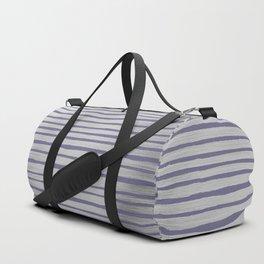 Violet gray silver watercolor brushstrokes stripes Duffle Bag