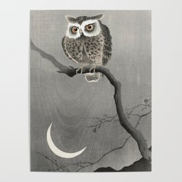 Owl and the Crescent Moon - Vintage Japanese woodblock print Poster