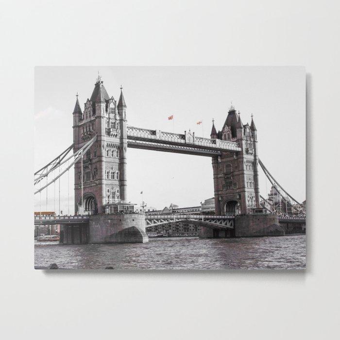 London Bridge Black & White Metal Print