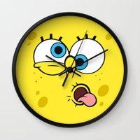 spongebob Wall Clocks featuring Spongebob Crazy Face by Cute Cute Cute