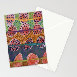 Red Round And Dotted Forms  Stationery Cards