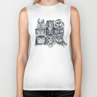 owls Biker Tanks featuring Nine Owls by Rachel Caldwell