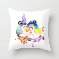 leah flores Throw Pillows featuring Flores by Tania Orozco