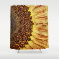 fibonacci Shower Curtains featuring Sunflower by ThePhotoGuyDarren