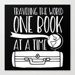 Traveling the World One Book at a Time V2 (Inverted) Canvas Print