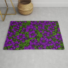 Purple Clematis vine Rug