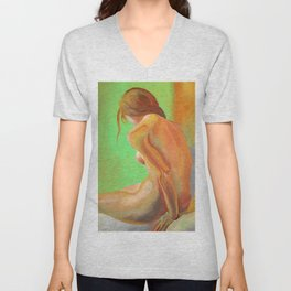 Young Beautiful Nude Woman At Dawn Unisex V-Neck