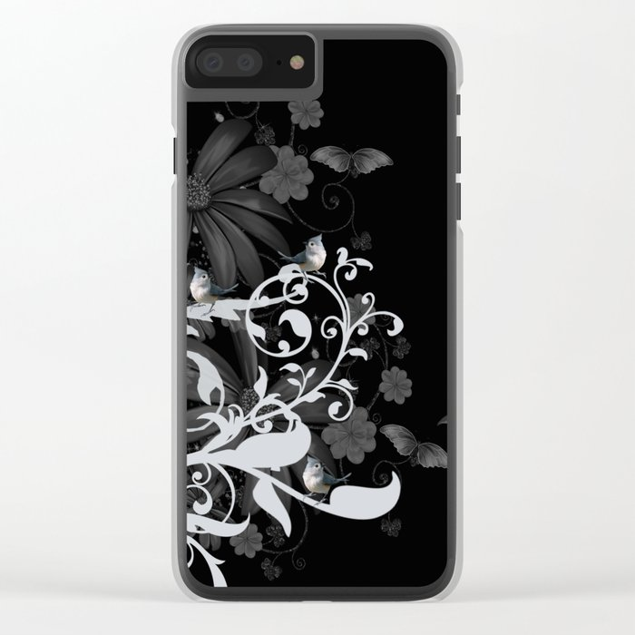 Wonderful floral design with birds Clear iPhone Case