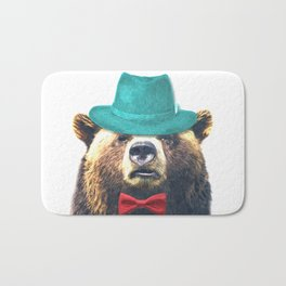 Funny Bear Illustration Bath Mat