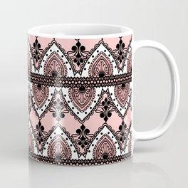 Blush Pink Black and White Ornate Lace Pattern Coffee Mug