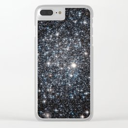 Stars : subtle black blue gold Clear iPhone Case