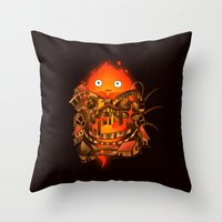 calcifer Throw Pillows featuring Pocket Calcifer by Natalie