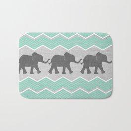 Three Elephants - Teal and White Chevron on Grey Bath Mat