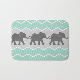 Three Elephants - Teal and White Chevron on Grey Bath Mat