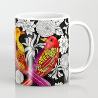 alisa burke Mugs featuring colorful birds by Alisa Burke
