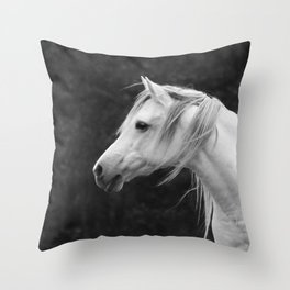 Arabian horse in black and white Throw Pillow