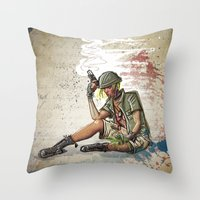 tank girl Throw Pillows featuring Tank Girl by Joe Badon