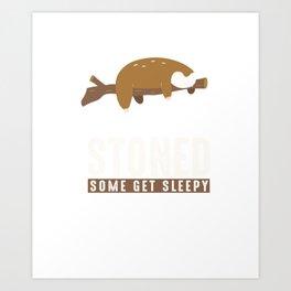 Some Get Stoned Funny Sleepy Sloth Wildlife Animals Forest Nature Zoo Wilderness Animalia Gift Art Print