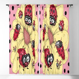 some quirky ladybugs and a couple of cute bees, pink coral yellow red black white Blackout Curtain