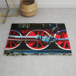 Red Wheels And Driving Rods Of A Vintage Steam Locomotive Rug