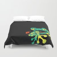 frog Duvet Covers featuring Frog by Linus Nyström
