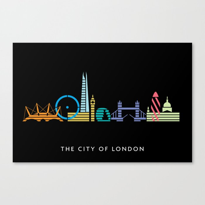London Skyline Black Canvas Print By Christopherdina